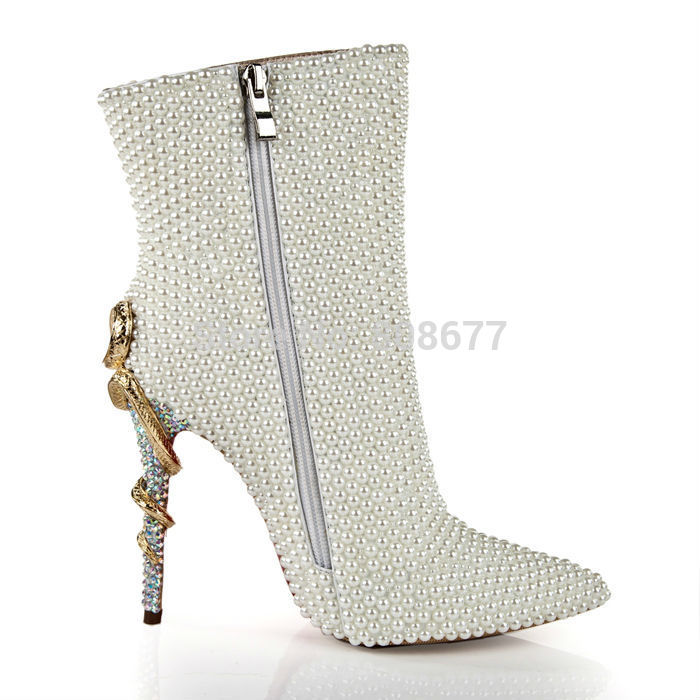 Hot Selling Snake Heels Pointed Toe Pearl Winter Boots Women Shoes Patent Leather Zip Rhinestone Wedding Party Dress