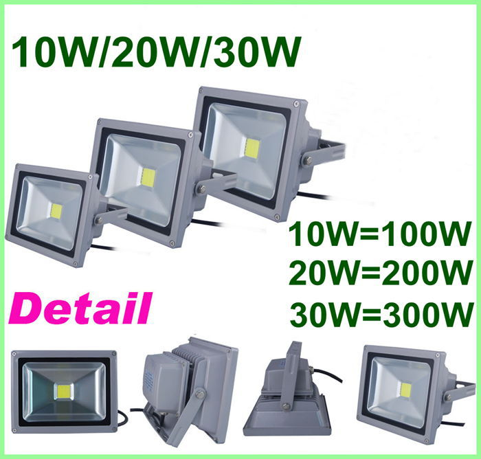 10W/20W/30W AC85V~240V Waterproof IP65 LED Flood Light Lamp LED Floodlight Spotlight Outdoor Light Free Shipping(China (Mainland))