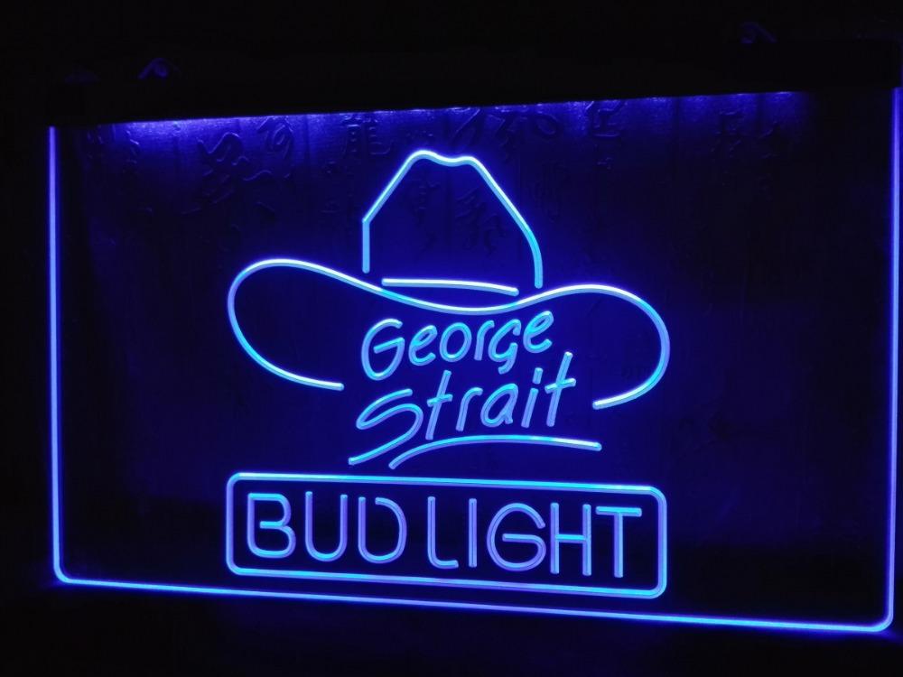 LE116- Bud Light George Strait Bar Pub LED Neon Light Sign(China (Mainland))