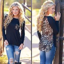 2016 Women Spring European High Quality Sexy Leopard Printed Long Sleeve Cotton Blend + Chiffon T-Shirt Tops Shirt G774(China (Mainland))
