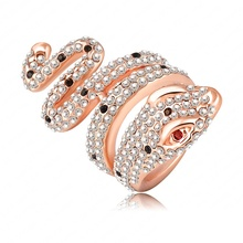 SuperDeals Ring Genuine18K Rose Gold Plate and Pave Austrian Crystal 3D Cobra Snake Engagement Rings Fashion Jewelry Ri-HQ0112