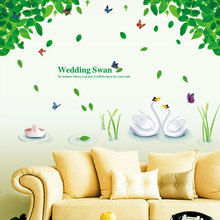 Buy Large 78*110cm Wedding Swan 3D Natural Wall Art Wall Sticker Green Family Tree Home Decal Diy Butterfly Wall Decor Posters for $7.58 in AliExpress store