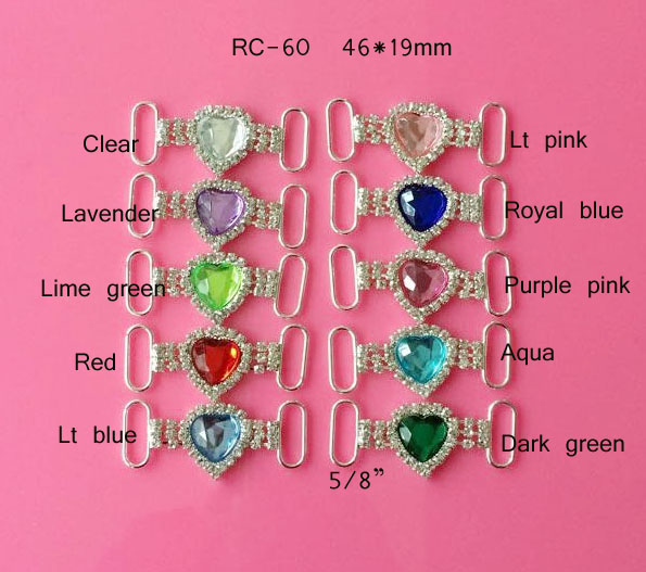 Free Shipping(RC-60)100pcs/lot 5/8''bar 46*19mm (10)color heart acrylic rhinestone connector for hair jewely silver plating(China (Mainland))