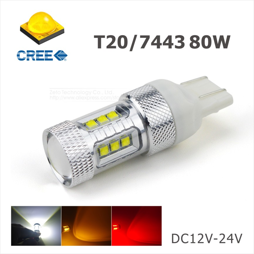 2x High Power 80W CREE T20 7443 7440 LED Bulbs For Car Reverse Lights Signal Backup DRL Lights DC12V-24V White/Red/Amber(China (Mainland))