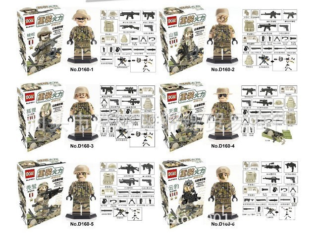 Doll Heavy Firepower Mountain Assault Team Riot Police Camouflage Minifigure Building Block sets Toys Compatible With Lego(China (Mainland))