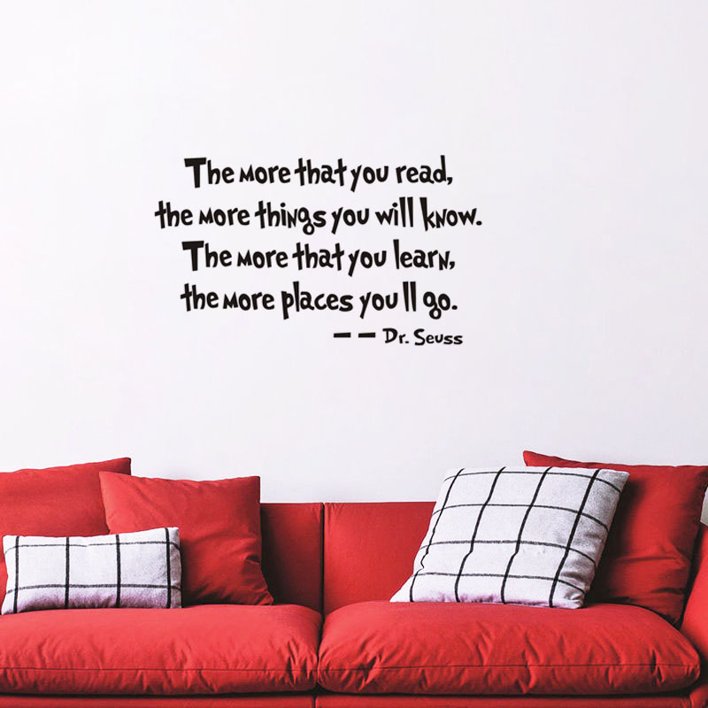 Dr Seuss The More That You Read Saying Quote Home Decor Vinyl Wall Sticker Mural Home Decoration For Study(China (Mainland))