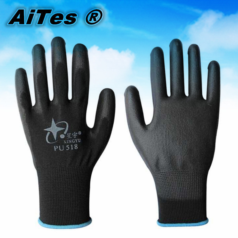 13G black PU Work Gloves Palm Coated ,working gloves,Workplace Safety Supplies,Safety Gloves PU518,guantes trabajo 10piece/5pair(China (Mainland))