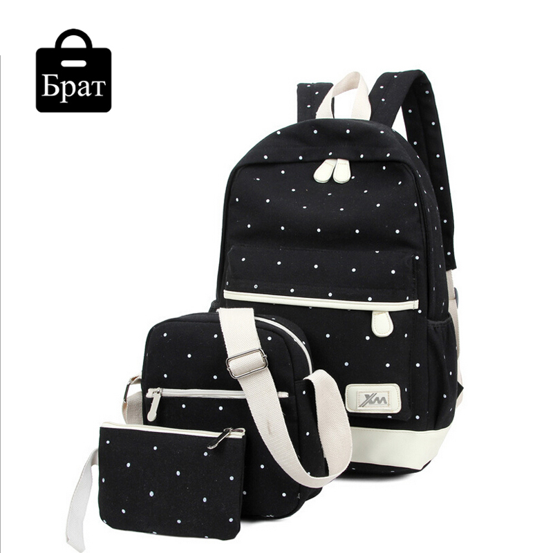 New casual women backpack canvas Korean school bags travel backpacks for teenage girls preppy style dots women bag set