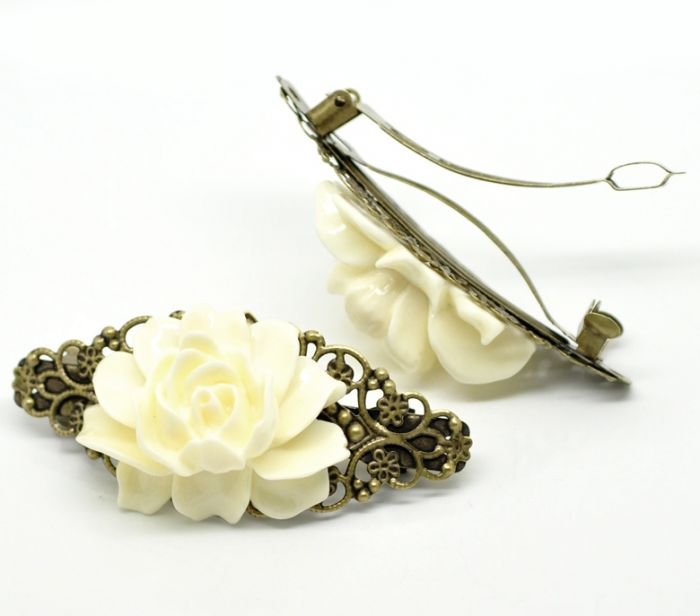 """2 Antique Bronze White Flower French Hair Barrette Clips 7.9x3.7cm(3-1/8""""x1-1/2"""") Mr.Jewelry(China (Mainland))"""