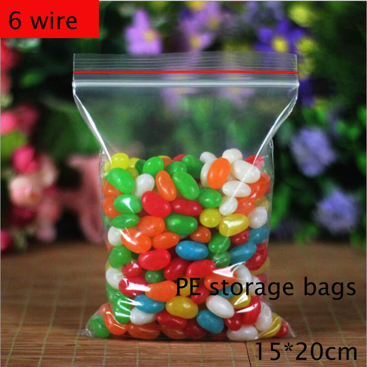 100pcs 6 wire 15*20cm Self Sealing Zipper Ziplock Food storage bags Quality PE health candy fruit Snacks Storage bag(China (Mainland))