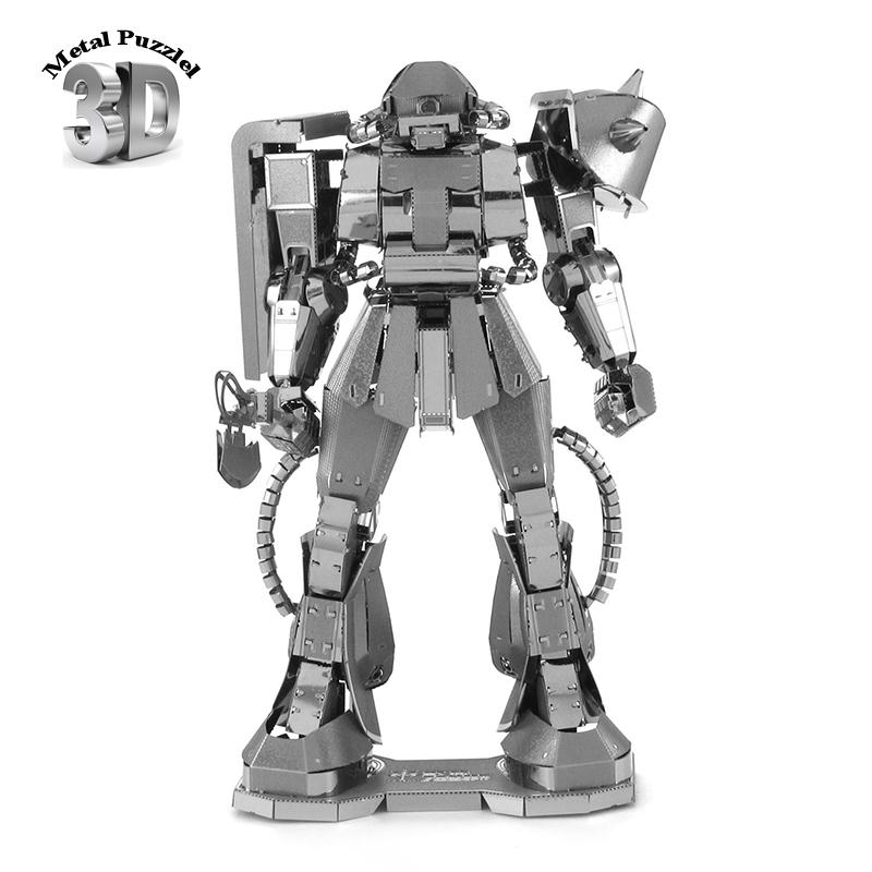 3D Metal Puzzles Miniature Model DIY Jigsaws Building Silver Robot Gift Kids GUNDAM MS - 06 ZAKUII  -  China Toys Paradise store