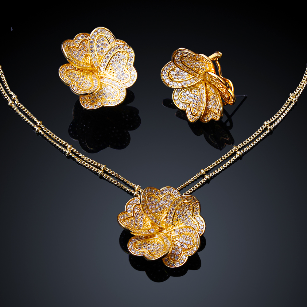 Wedding Jewelry Sets 18k Gold & Platinum Plated Flower  Necklace Pendants & Stud Earring Sets Cubic Zirconia Fine Jewelry