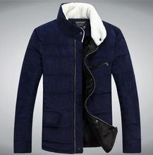 Coat Outerwear 2015  warm coat solid color collar men Slim new winter coat cotton-padded jacket 722099(China (Mainland))