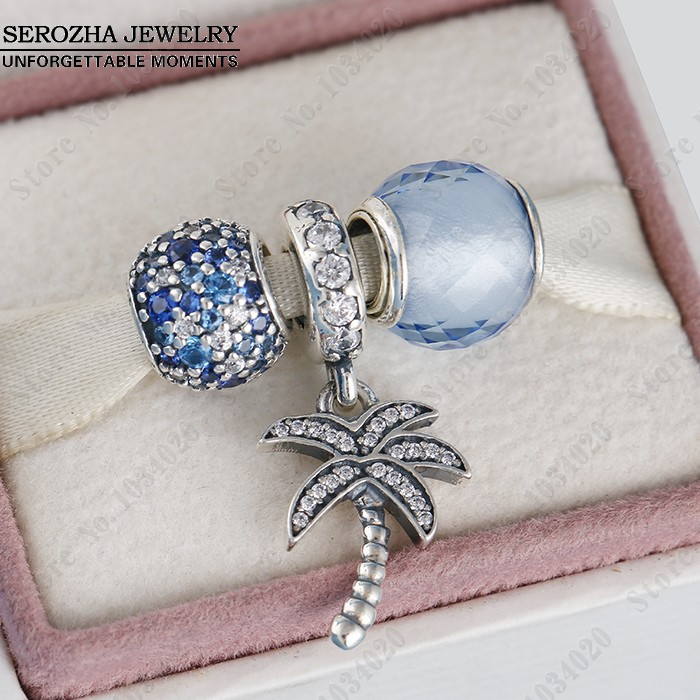 925 Sterling Silver Summer Jewelry Sets-Blue CZ Ocean/Quartz Faceted/Palm Tree Charm Beads Diy 2015 Brand Bracelets Fine Jewelry<br><br>Aliexpress