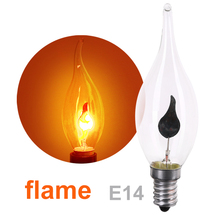Buy 10 pieces E14 3W Edison Light Bulb Lamp LED Energy Saving Light Bulbs Vintage Fire Flame Candle Tail Chandelier Decor 220V for $13.92 in AliExpress store