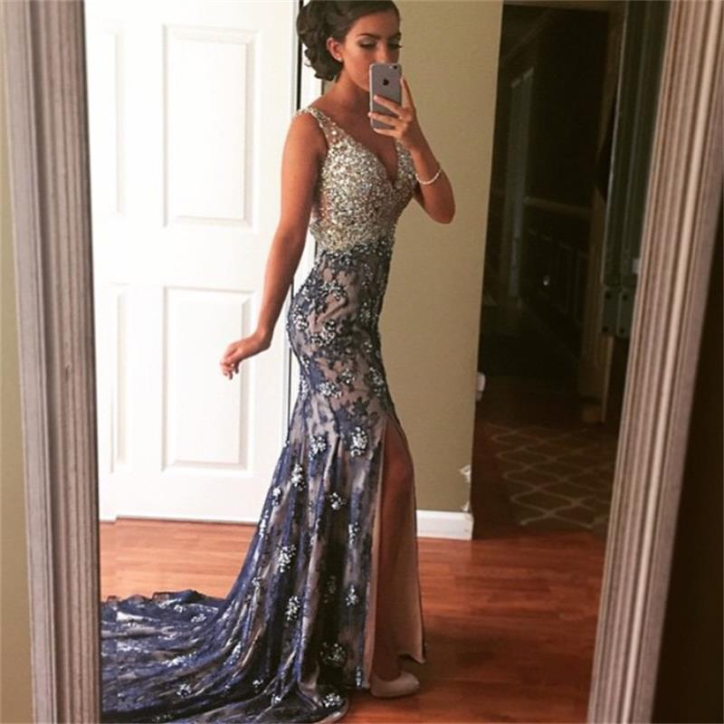 Navy blue lace mermaid evening dress 2015 elegant sexy v for Wedding guest lace dresses