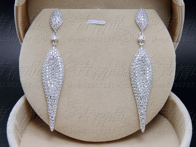 2016 New arrival ruslana korshunova personality full rhinestone zircon long earrings sparkling wedding bride banquet jewelry
