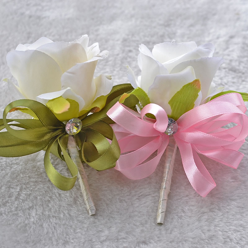 2PCS Wedding or Prom Wrist Flower Corsage Bridal Corsages&Boutonnieres for Groom or Groomsmen wedding suit accessories A0004(China (Mainland))