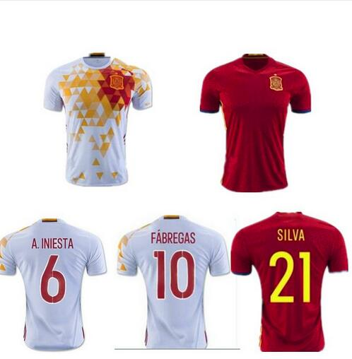 2016 Spain soccer Jersey Thai quality I.CASILLAS FABREGAS ISCO A.INIESTA euro cup Espana JERSEYS DIEGO COSTA Football SHIRTS(China (Mainland))