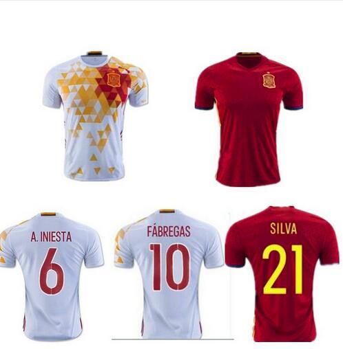 2016 Spain soccer Jersey Thai quality I.CASILLAS FABREGAS ISCO A.INIESTA euro cup Espana JERSEYS DIEGO COSTA Football SHIRTS(China (Mainland))