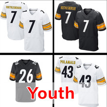Youth #26 Le'Veon Bell Kid's 43 Troy Polamalu 7 Ben Roethlisberger White Black Elite Stitched Free Shipping S-XL(China (Mainland))