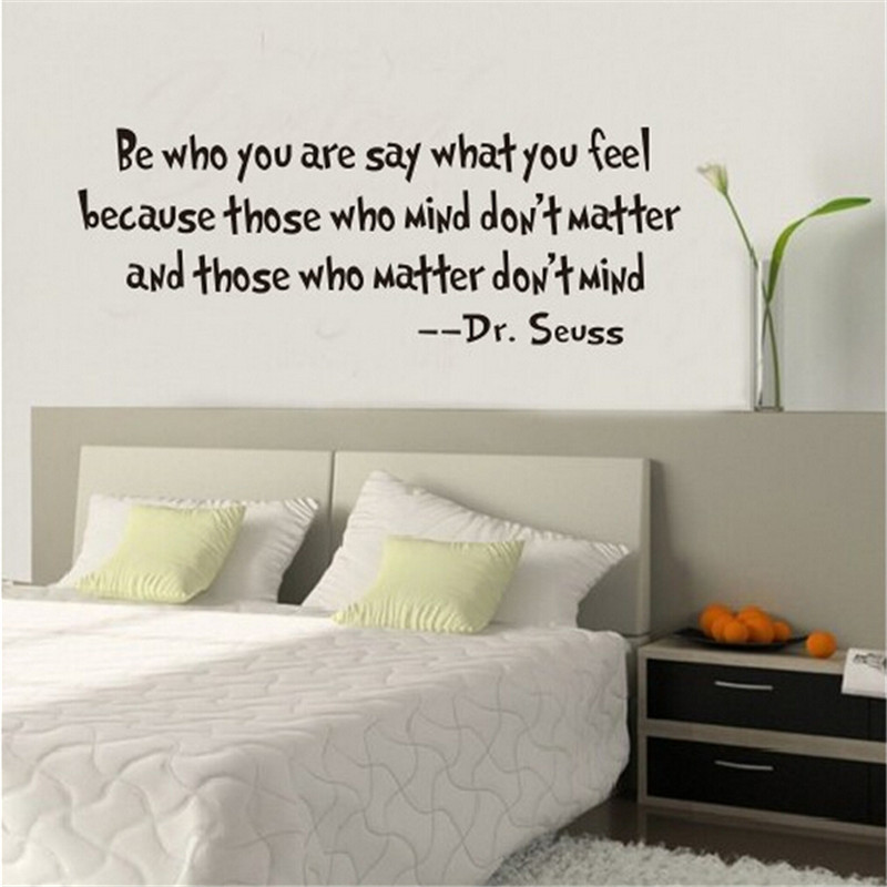 2016 New Fashion Plain Wall Stickers Poster Dr. Seuss Proverb Inspirational Removable Wall Sticker Home Decor Free Shipping