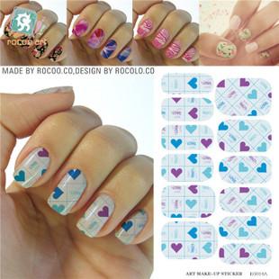 KG014A Water Transfer Foils Nail Art Sticker Pink Blue Love Nail Sticker Minx Harajuku Manicure Decoration Nail Wraps Decals<br><br>Aliexpress