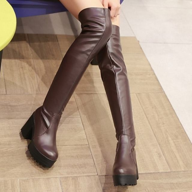 New Sexy Thigh High Boots 2015 Fashion Platform Thick High Heel Boots for Women Autumn Winter Boots Women Shoes(China (Mainland))