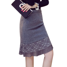 Women Winter Skirts 2016 Fashion Lace Patchwork Women Pencil Woolen Skirt High Waist Ruffle Hem Plus Size Skirt For Women S2194