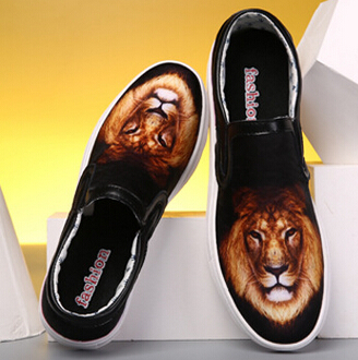 Free shipping 2015 summer style classics flat printing with lion tiger dog 17 women and men shoes lovers couples sneakers(China (Mainland))