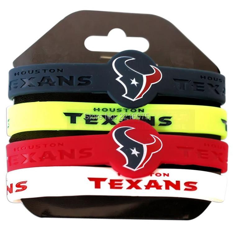 300pcs NFL Houston Texan wristband silicone bracelets free shipping by FEDEX express(China (Mainland))