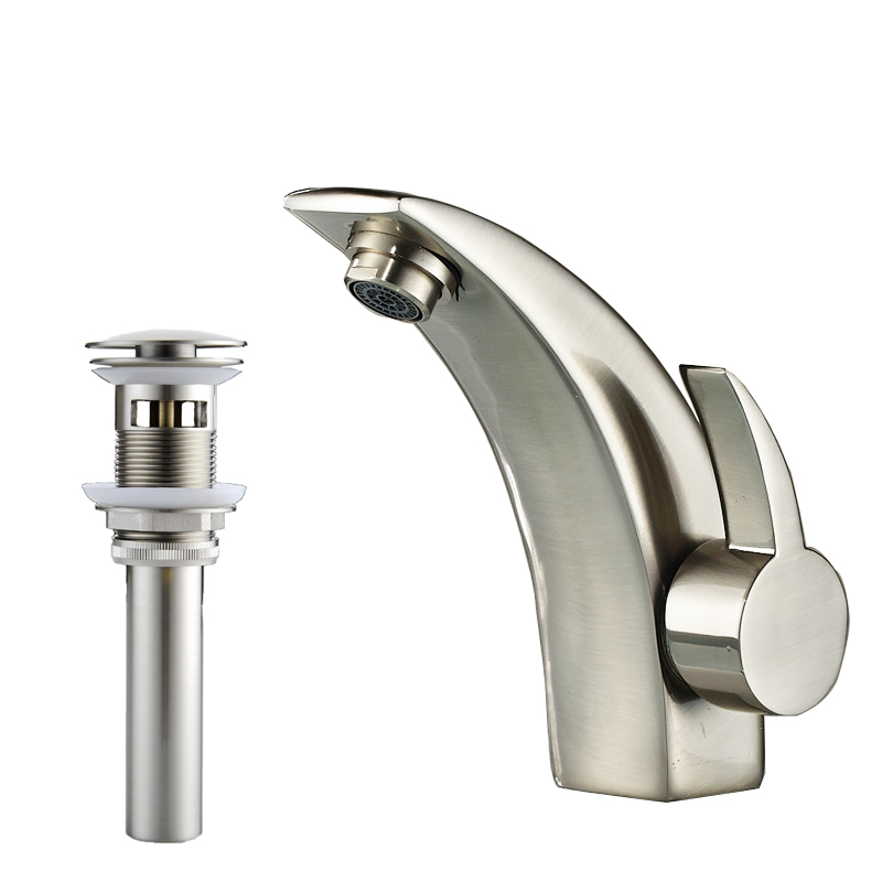 Free Shipping Creative Basin Vessel Sink Faucet Single Handle Nickel Brushed Short Bathroom Mixer Taps Pop Up Drain(China (Mainland))