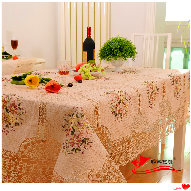 2016 zakka home natural cotton crochet lace tablecloth for round table embroidered-tablecloths for kitchen decoration wholesael(China (Mainland))