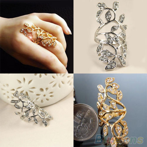 Women s Fashion Rhinestone Hollow Leaf Joint Armor Knuckle Crystal Ring 7 2MCK 2NWU