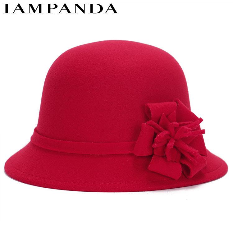 IAMPANDA brand 2017 Winter new Fedoras Lady imitation wool bowler hats youth cap adult solid casual hats for women wholesale(China (Mainland))