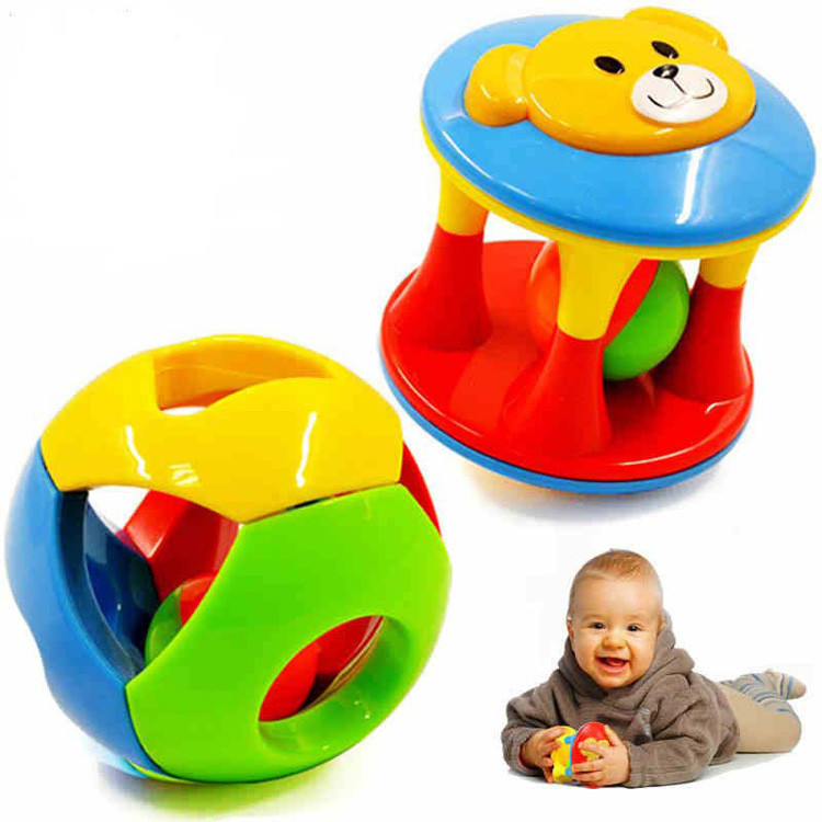 2015 New 0-12 Months Baby Toys 2Pcs /Set Musical Bell Early Educational Multifunctional Plastic Ball Rattles Gift For Children(China (Mainland))