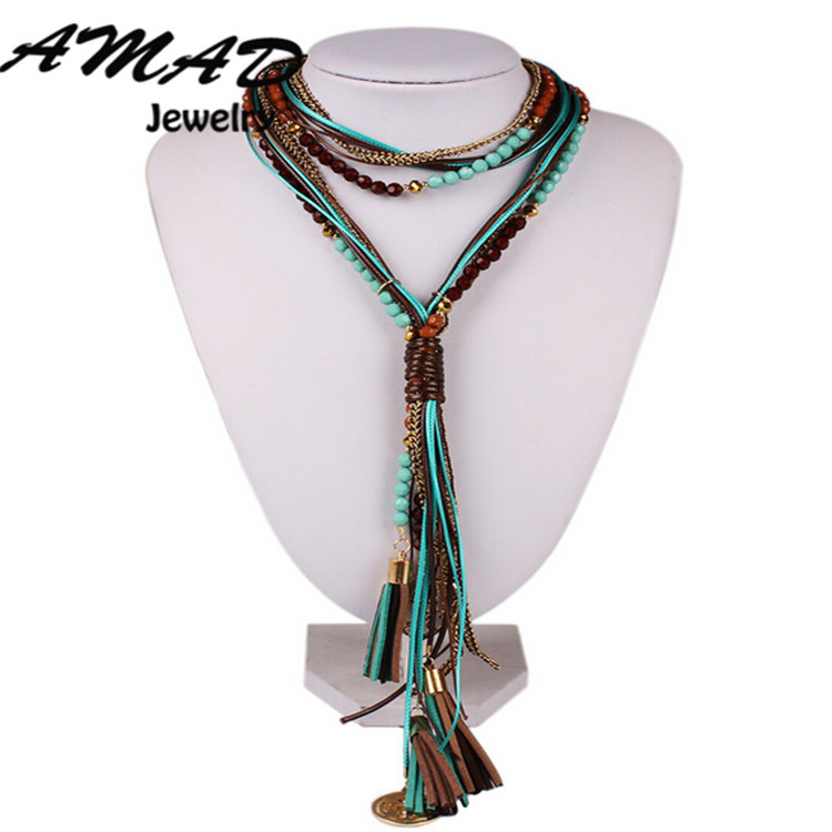 Twisted African Beads Multilayer Necklace Women Necklaces 2015 Statement Colar Vintage Bohemian Style Jewelry Long Sweater Chain(China (Mainland))