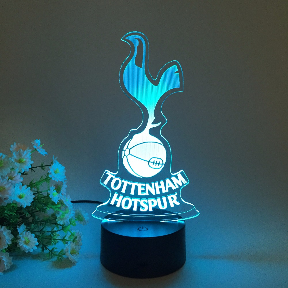 Creative Gift Lamp Tottenham Hotspur Football Soccer Club 7 Colors Change 3D Night Light LED Atmosphere Desk Table Decoration(China (Mainland))
