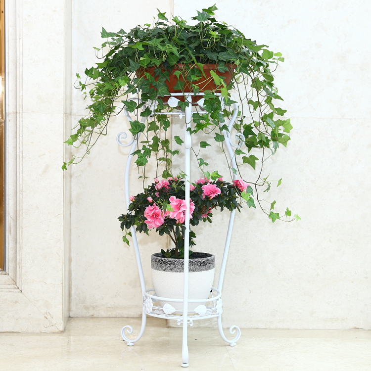 ECDAILY  Special pastoral wrought iron wood multilayer indoor balcony living room wooden flower pots spider flower frame green d<br><br>Aliexpress