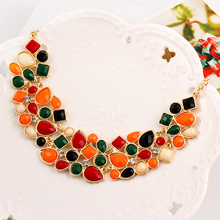 Free shipping Fashion Colorful Charm gem metal chain collar necklace statement jewelry for women 2014 Wholesale