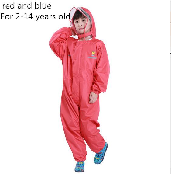 Nylon Thin pants waterproof baby kids raincoats for girls boys rain poncho coat chubasquero mujer with big hat(China (Mainland))