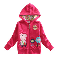NOVA kids wear fashion designs fuchsia children's winter hoodies coats baby girl coats cartoon hoody child wear hoody(China (Mainland))
