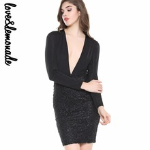 Buy Love&Lemonade Sexy Black V-Necklace Long-Sleeved Bodycon Party DressTB 10023 for $32.99 in AliExpress store