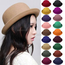 Fashion 2015 New Hot Vintage Women Lady Cute Trendy Wool Felt Bowler Derby Hat Cap Drop Shipping(China (Mainland))