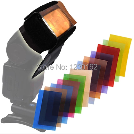 2pcs/lot promotion 12pcs Strobist Flash Color card diffuser Lighting Gel Pop Up Filter for camera free shipping(China (Mainland))