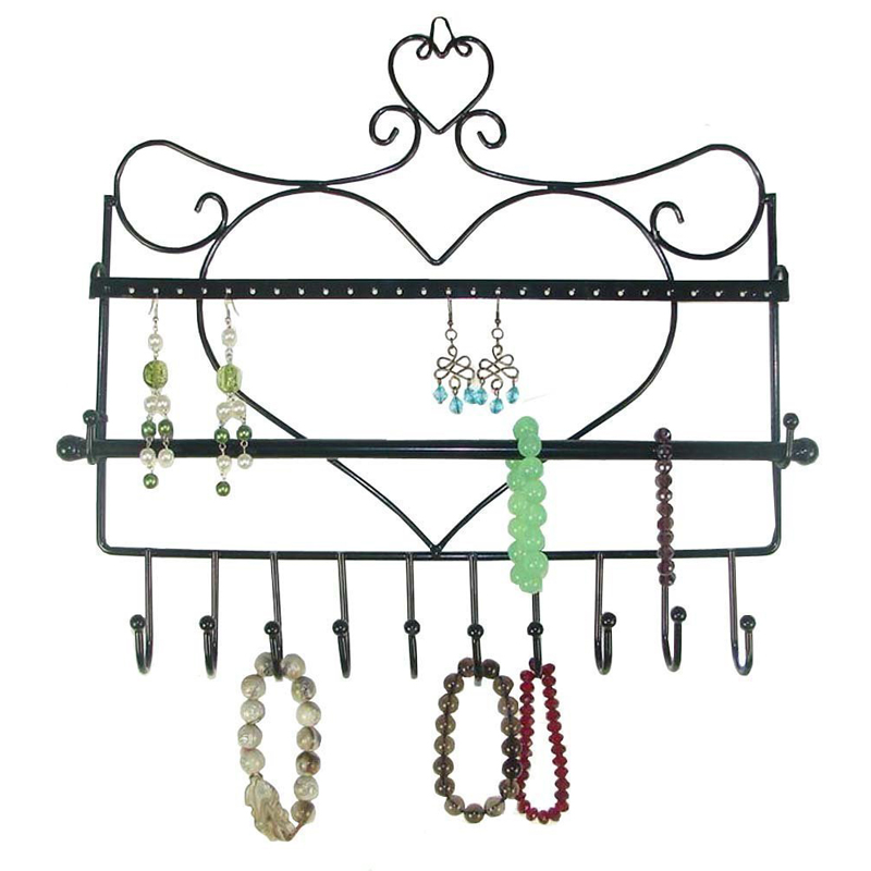 2016 Fashion Wall Mount Heart Shape Jewelry Organizer Hanging Earring Holder Necklace Jewelry Display Stand Rack(China (Mainland))