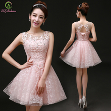 Sweet Cocktail Dresses 2015 New Bride Married Banquet Pink Lace Short Prom Dress Plus Size Party Formal Dresses(China (Mainland))