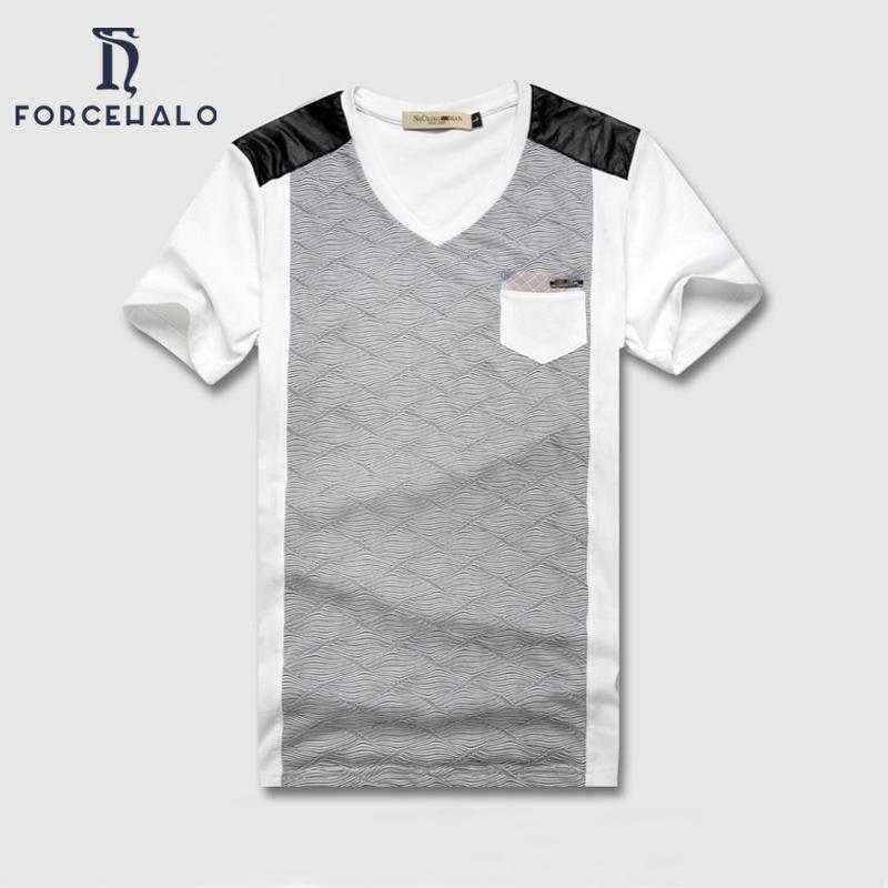 2016 New Brand T Shirt Men Causal Patchwork Design T-Shirt Cotton Mens Shirts Breathable Plus Size M-4XL - Forcehalo Store store