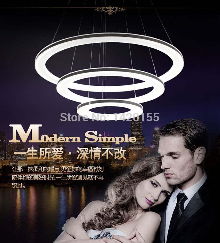 modern chandelier acrylic lamps 3 ring led chandelier fashion designer Hanging Lamp Circle(China (Mainland))