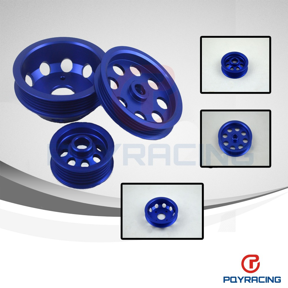 PQY STORE LIGHT WEIGHT CRANK PULLEY For Nissan SILVIA S14 S15 SR20 PULLEY BLUE
